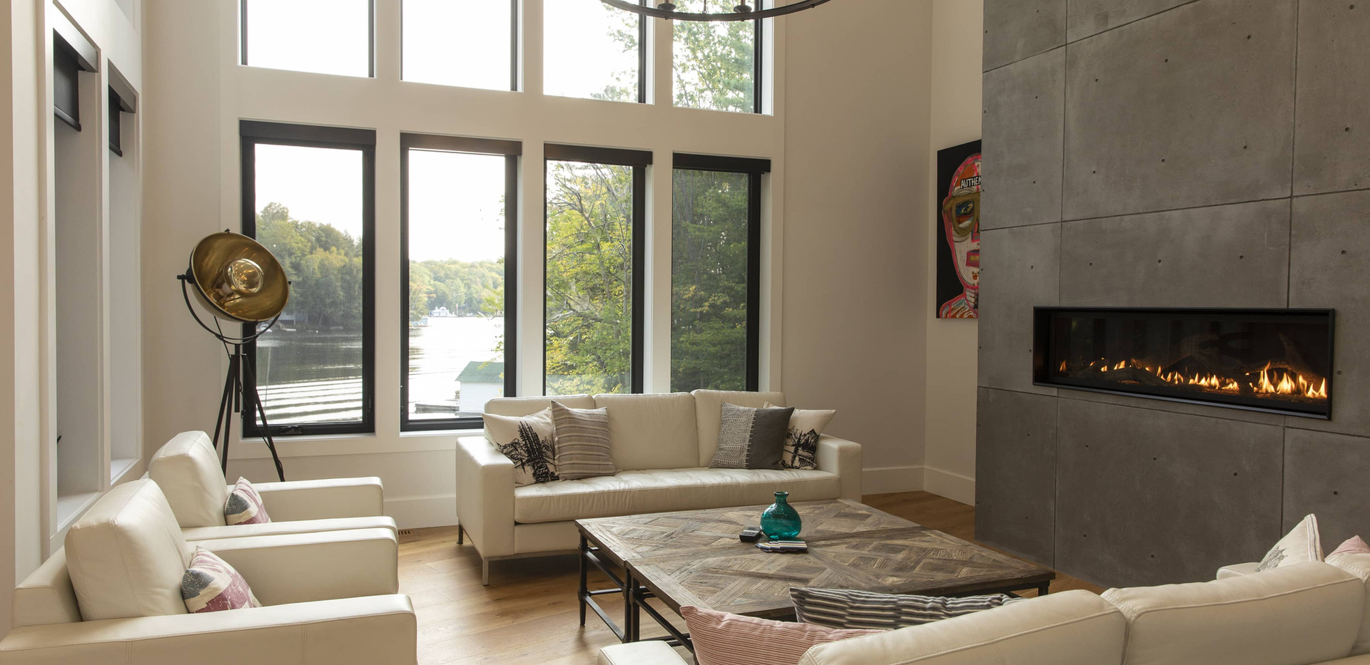 Floor to Cieling Windows and Fireplace