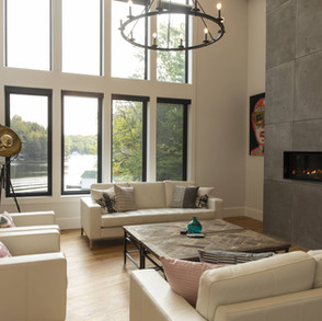 Contemporary Cottage Living Room, Concrete Fireplace, Floor to Ceiling Windows