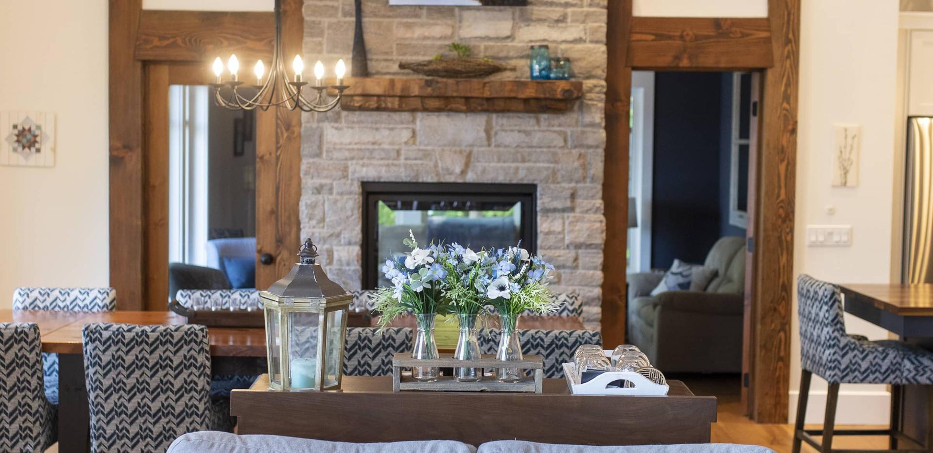 Angled Floor to Ceiling Stone Fireplace Edenlane Muskoka