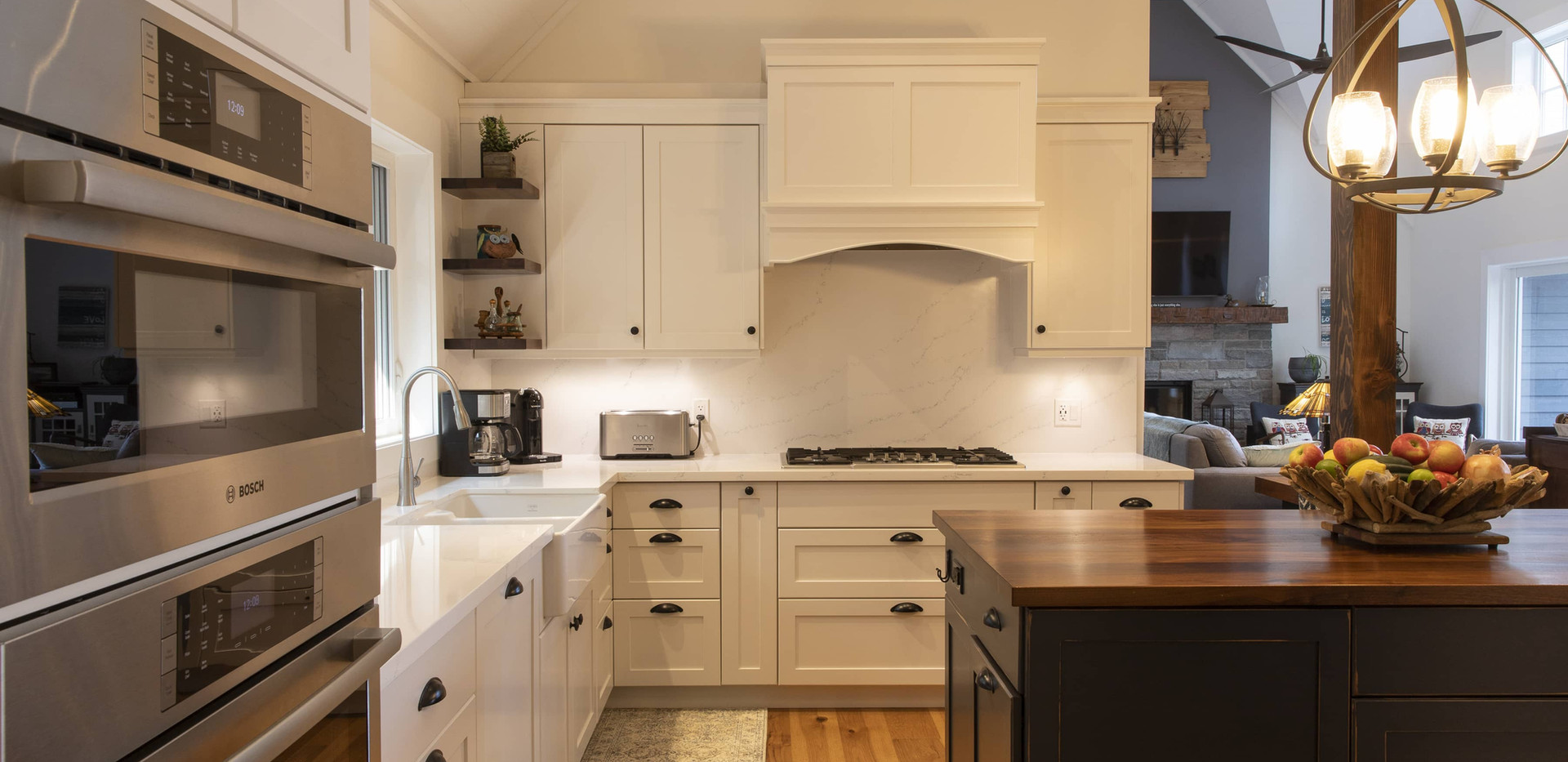 Modern White Kitchen with Blue Island Modern Custom Build