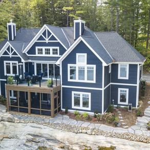 Aerial Shot of Large Blue Muskoka Cottage