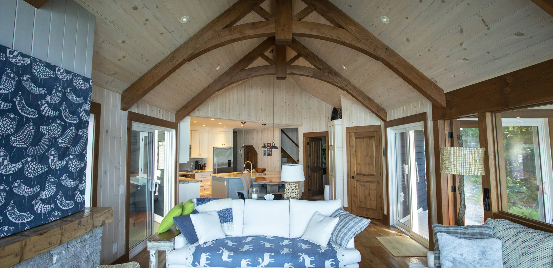 Wood Trusses to Make Space Larger Custom Cottage Edenlane Muskoka