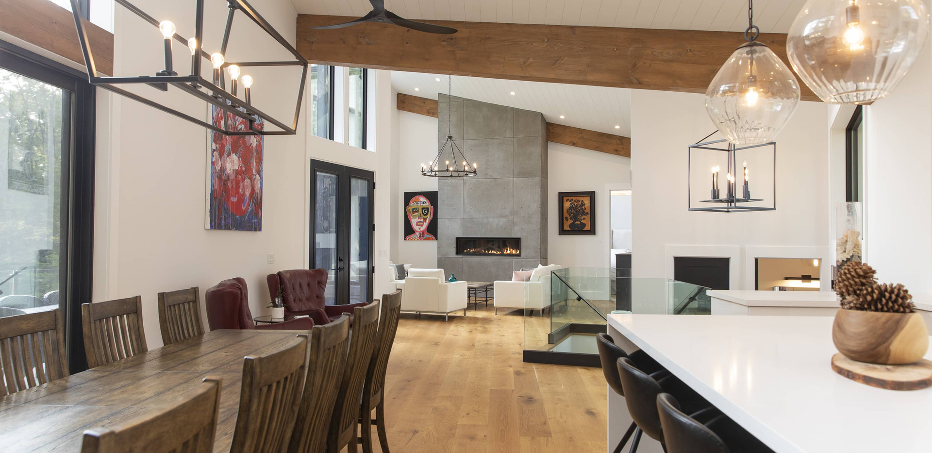 Large Great Room with Kitchen and Dining Area Custom Build Edenlane Muskoka