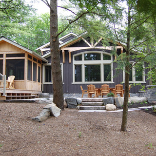 Back of Cottage with Screened in Porch Edenlane Muskoka