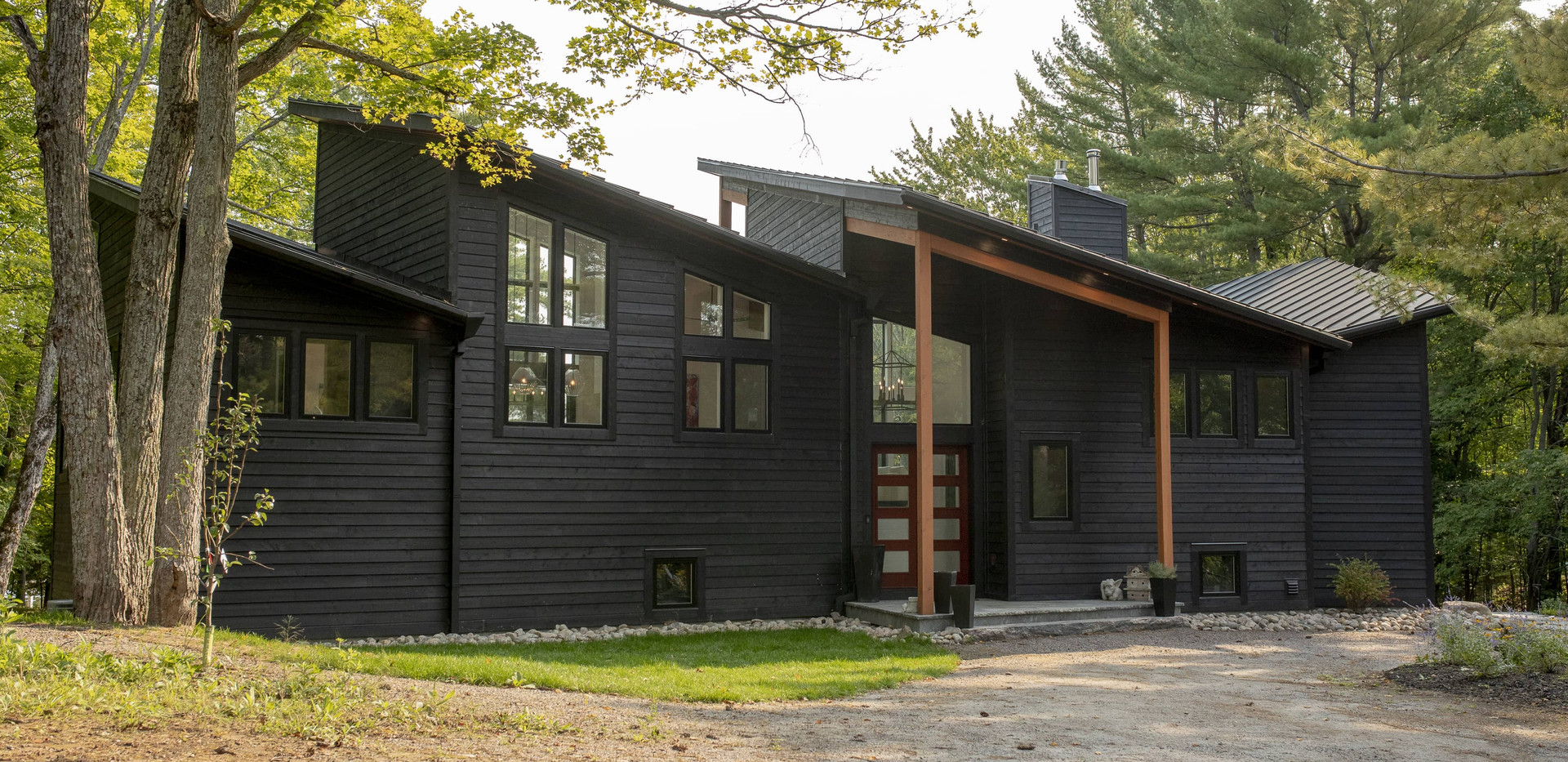 Large Black Contemporary Cottage Edenlane Muskoka