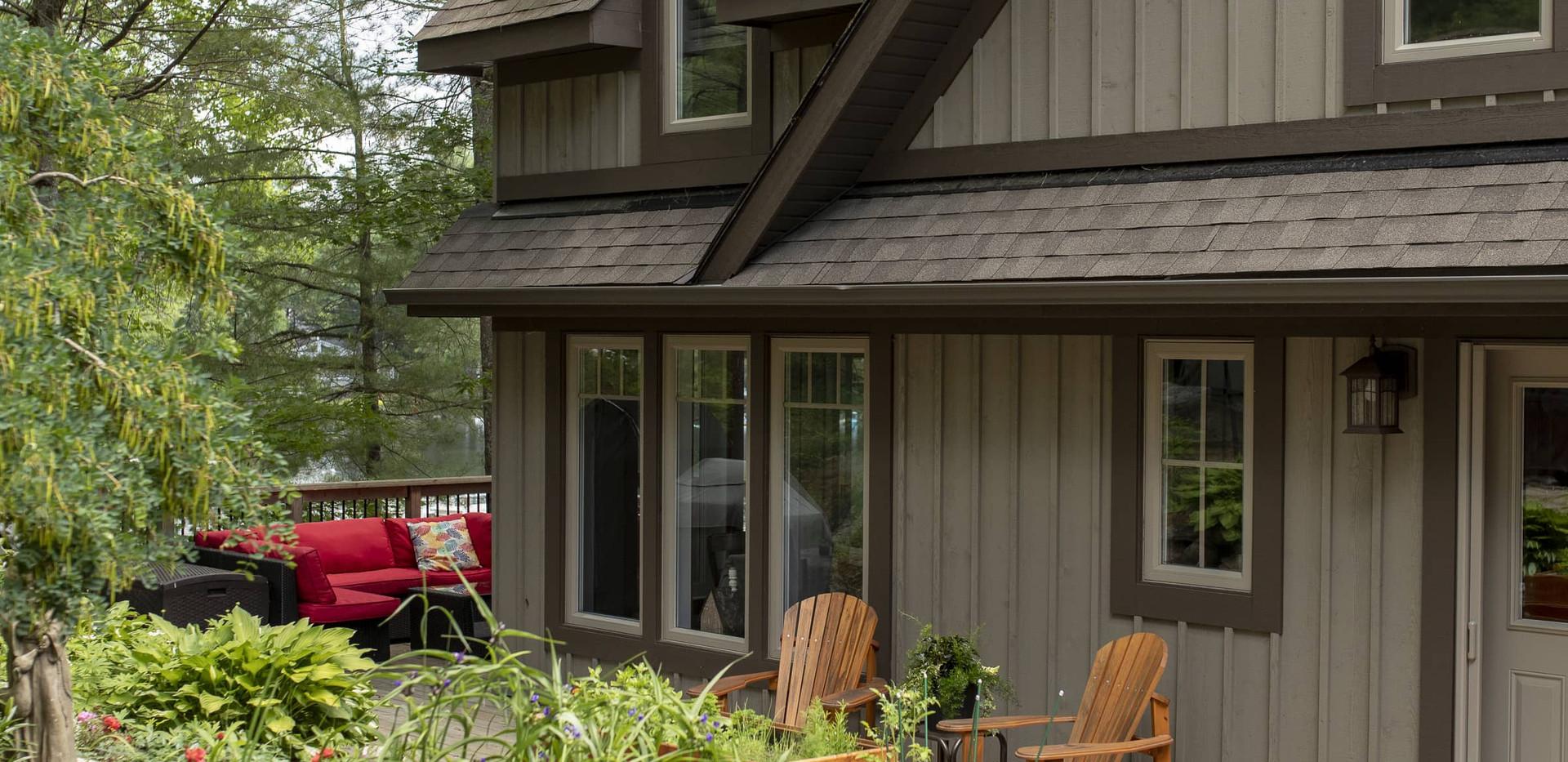 Grey Brown Cottage on Lake
