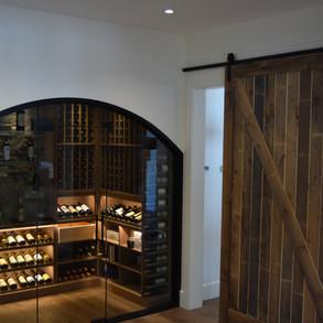 Custom Wine Room and Barn Door