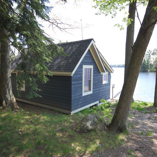 Back of Blue Bunkie Facing Water