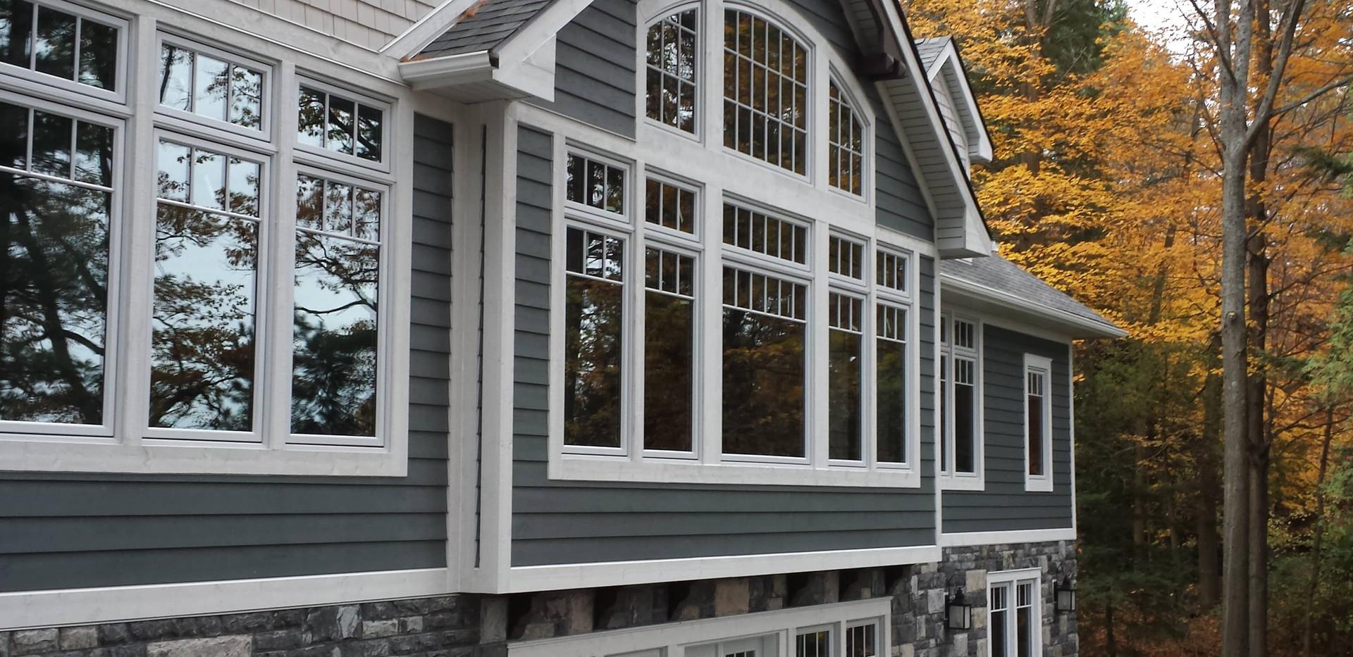 Window Detail on Large Grey Cottage Edenlane Muskoka