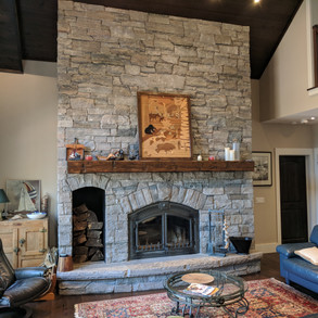 Floor to Ceiling Stone Fireplace Cottage
