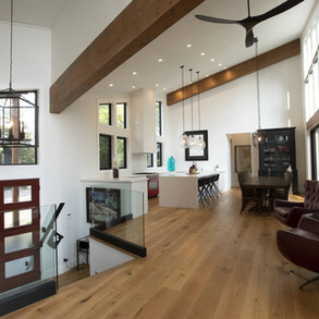Wood beam accents in Modern Cottage