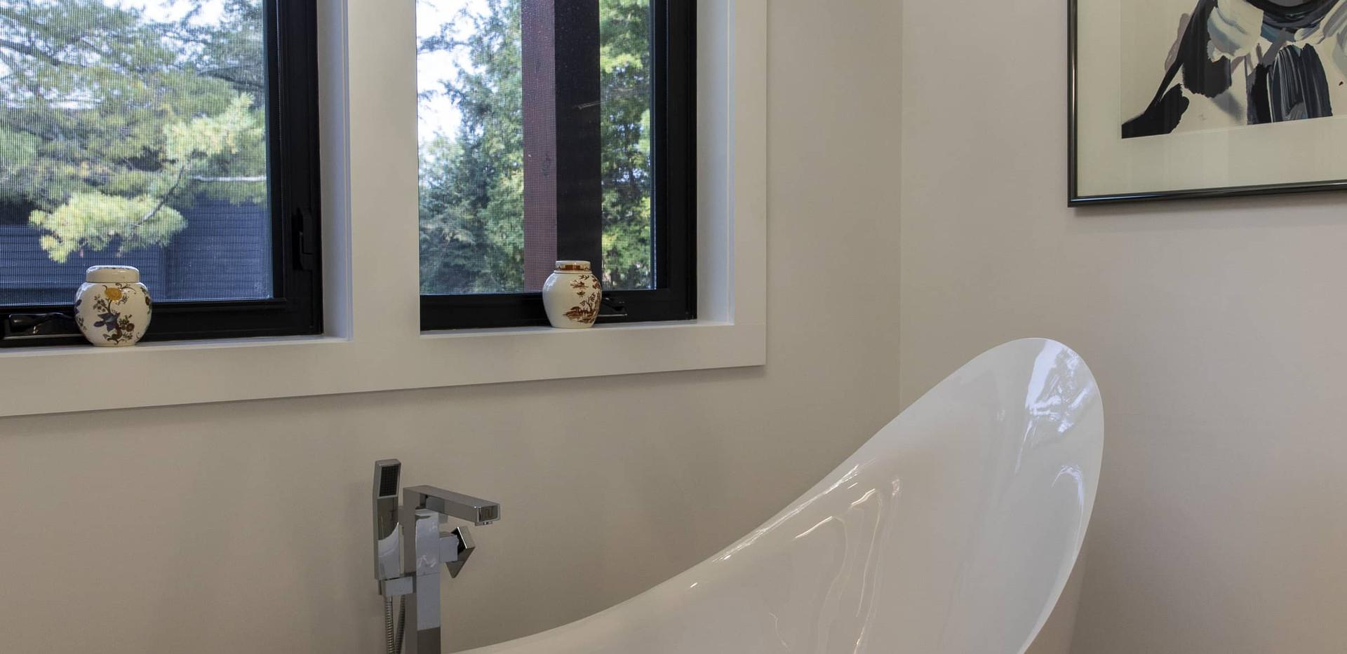 Large Freestanding Soaking Tub in Modern Bathroom Edenlane Muskoka