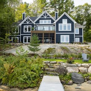 Large Muskoka Cottage Blue with White Trim