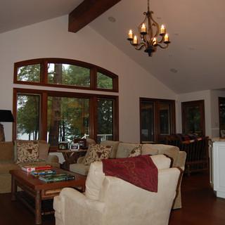 Vaulted Ceilings with Wood Beams Cottage Edenlane Muskoka