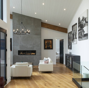 Concrete asymmetrical fireplace