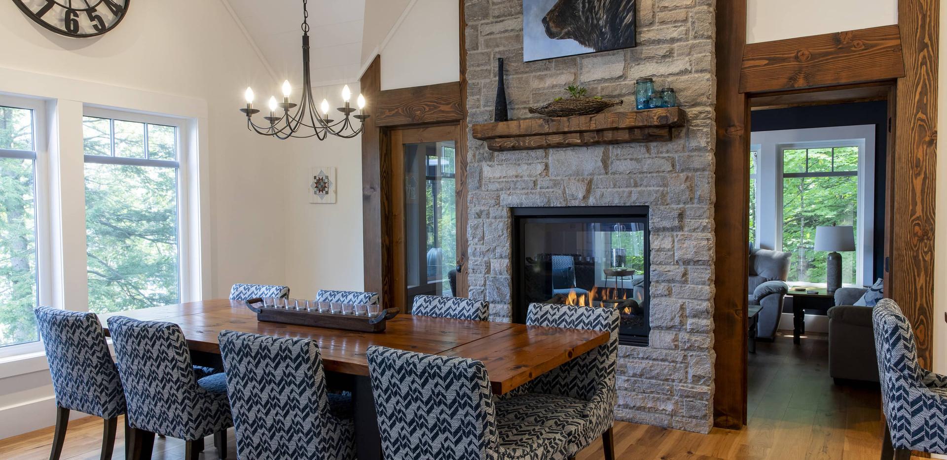 Floor to Ceiling Fireplace in Dining Room Custom Edenlane Muskoka