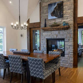 Double Fireplace Feature in Modern Cottage
