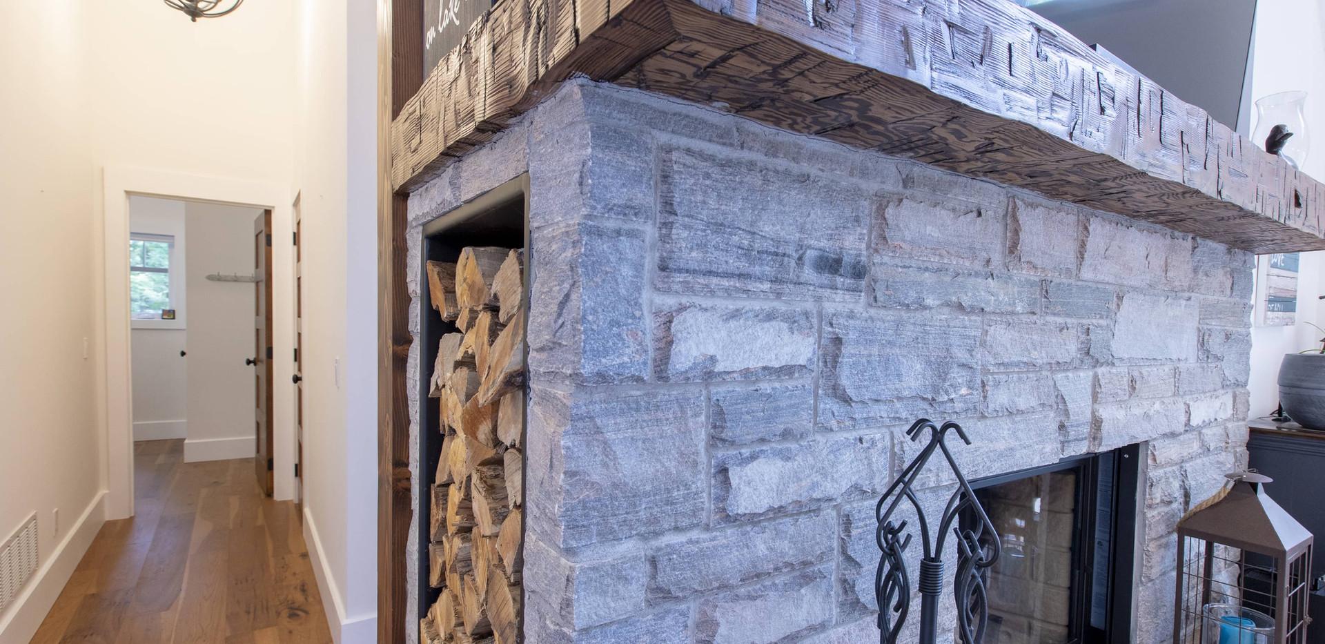 Stone Fireplace Wood Mantle Wood Storage