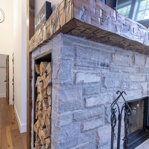 Stone Fireplace in Modern Traditional Cottage
