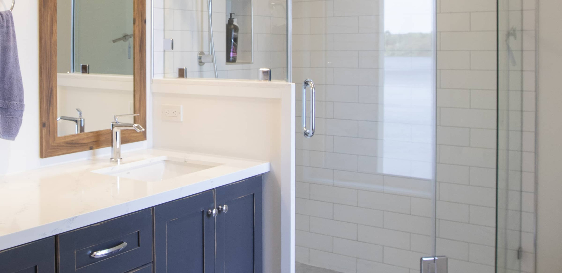 Contemporary Modern Bathroom with Blue Vanity