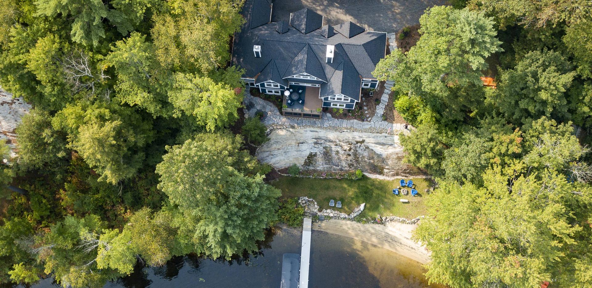 Aerial View of Cottage on Lake Muskoka