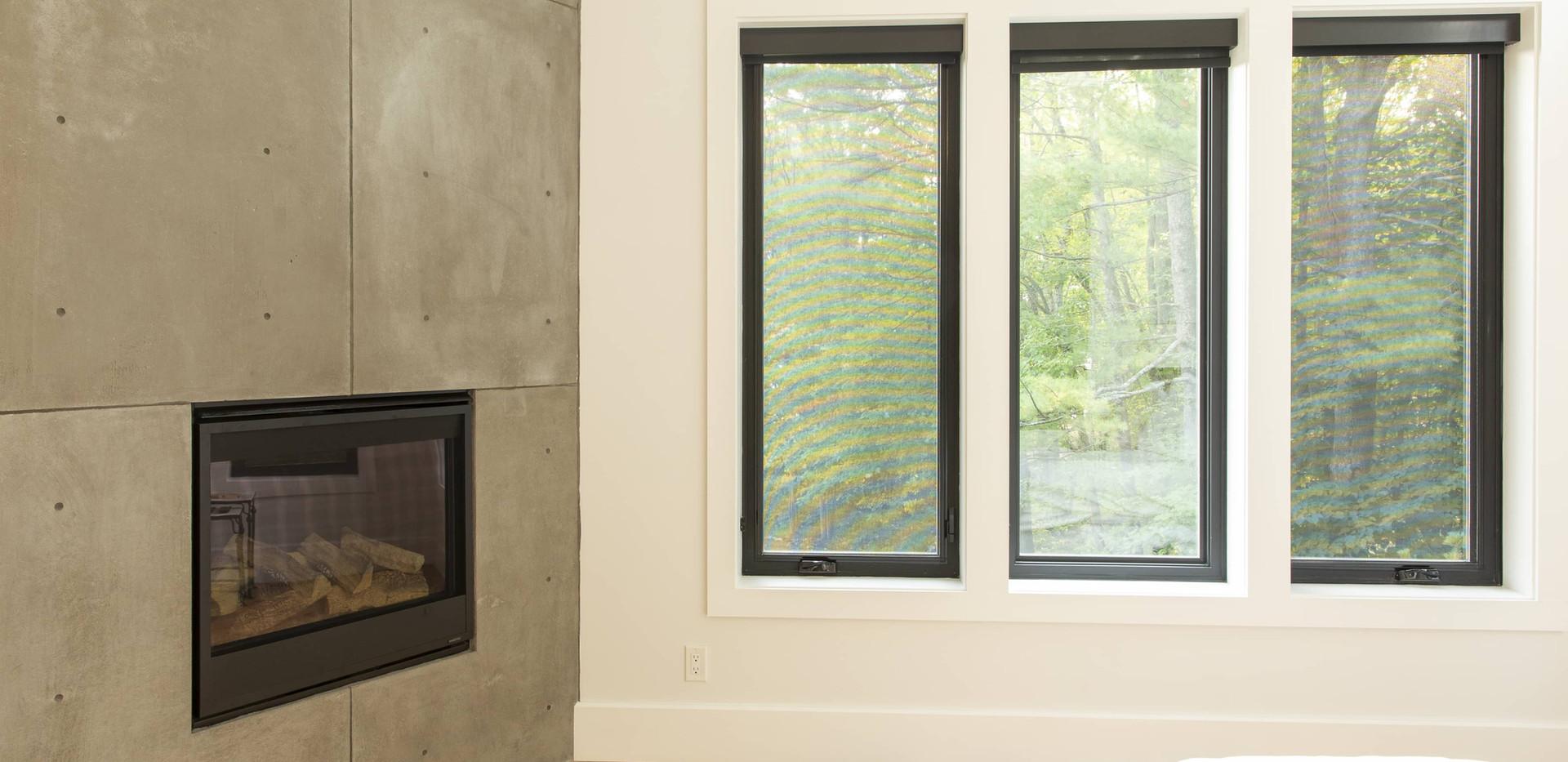 Bedroom Floor to ceiling Fireplace Edenlane Muskoka