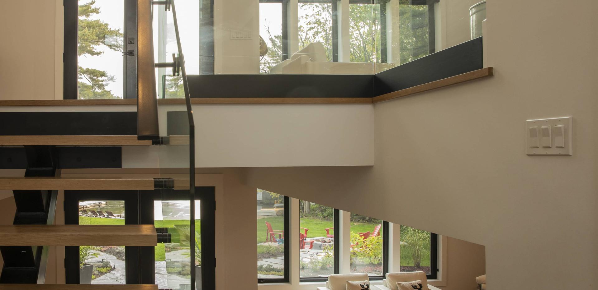 Contemporary Stairs with Glass Edenlane Muskoka