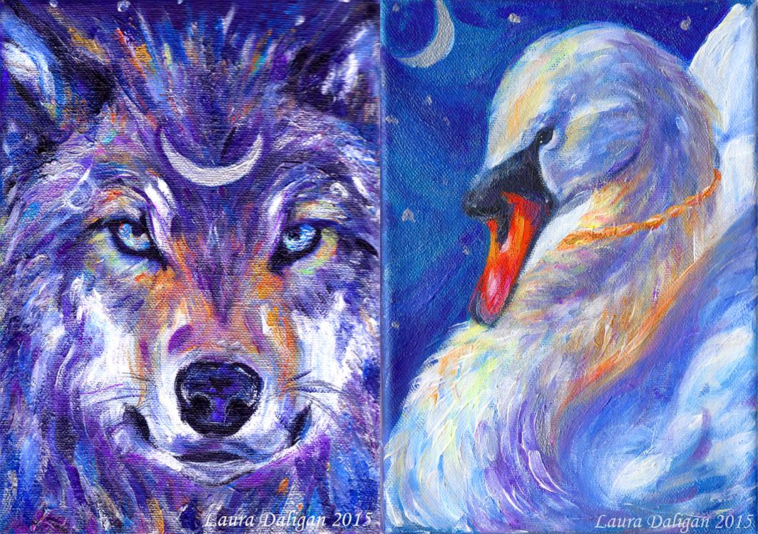 Lunar Wolf & Faery Swan