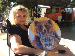 Sonni & Her Bear & Cougar Drum
