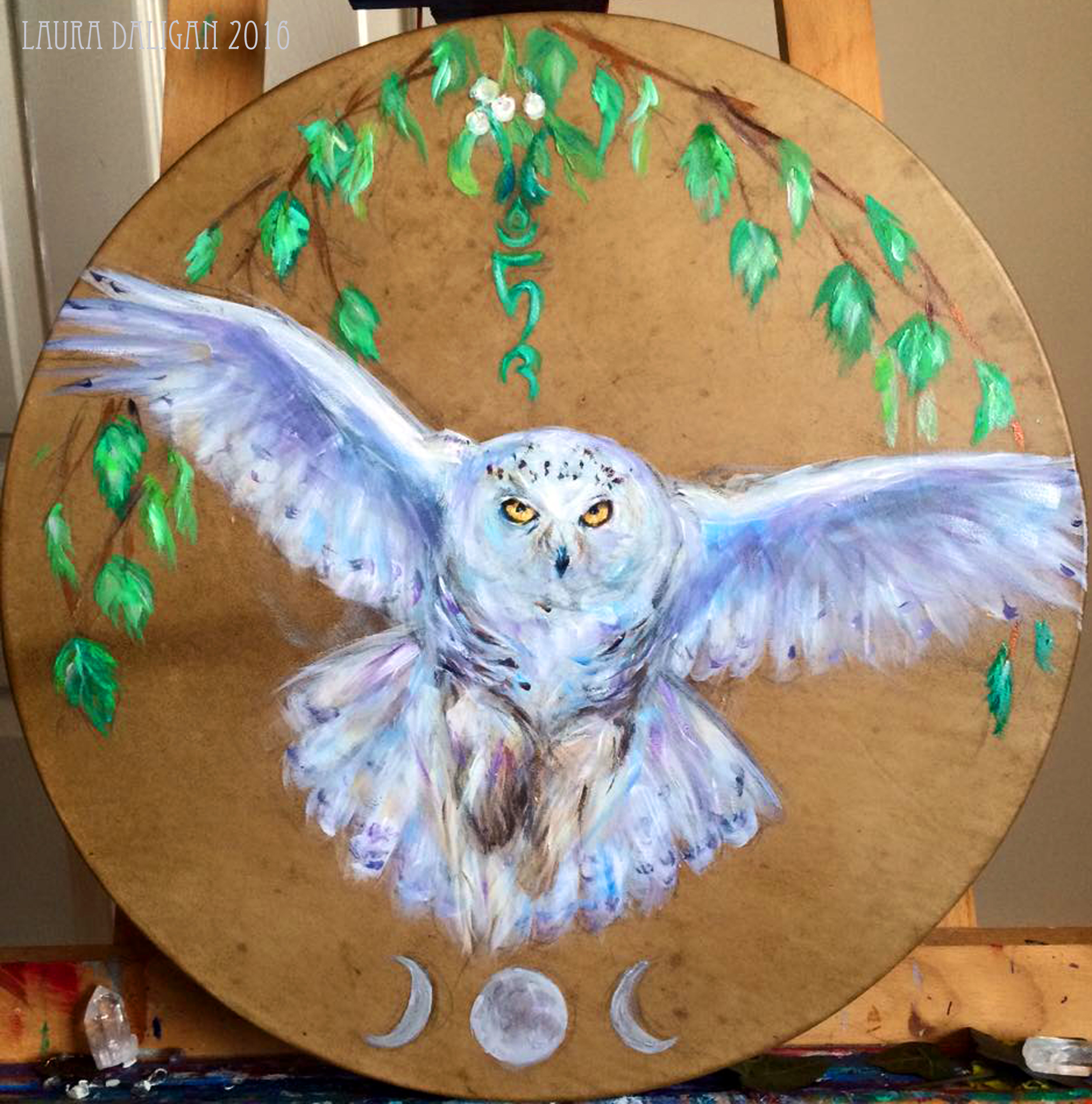 Belashka Snowy Owl Drum - Sold