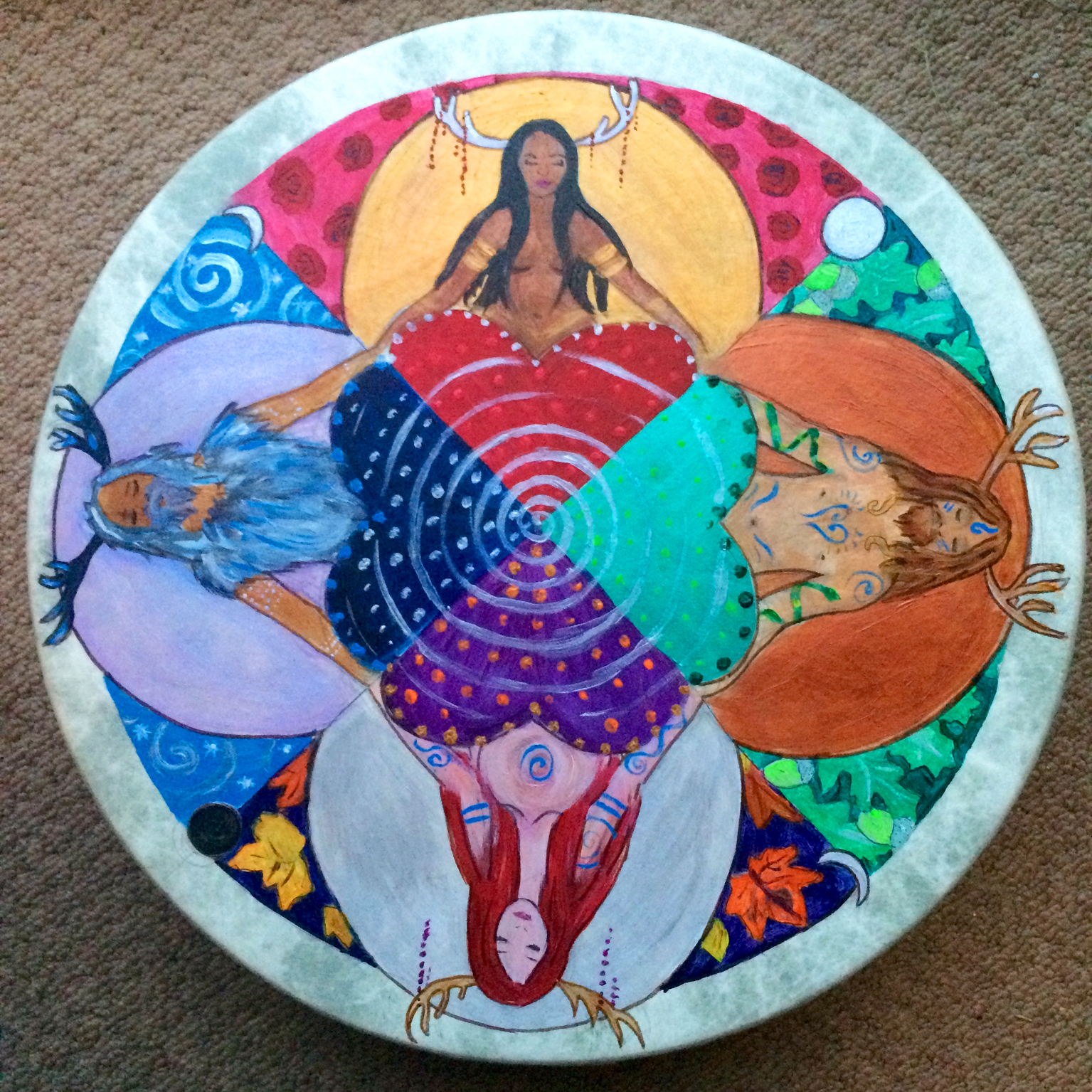 Antlered Goddess & God Drum