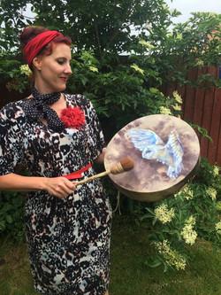 Verity & Her Barn Owl Drum