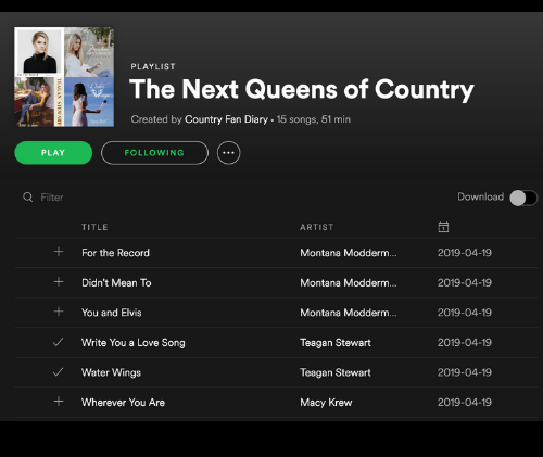 Next Queens of Country Playlist