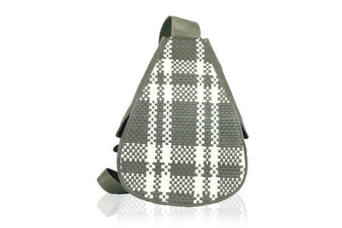 Florence Handmade Woven Leather Backpack in White/Chocolate