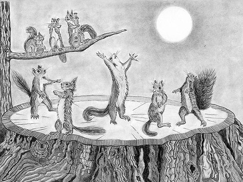 Squirrels Dancing on a Redwood Stump Under the Moonlight: Prints