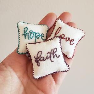 Hope, Faith, Love, Pillows
