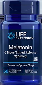 Melatonin 6 Hour Timed Release, 750 mcg, 60 tabs