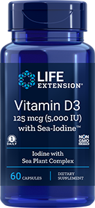 Vitamin D3 with Sea-Iodine, 5,000 IU, 60 caps