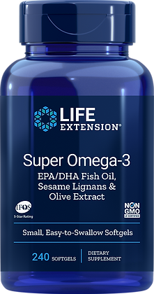 Super Omega-3 EPA/DHA with Sesame Lignans & Olive Extract,  240 softgels