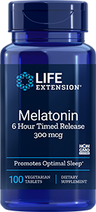 Melatonin 6 Hour Timed Release,  300 mcg, 100 tabs