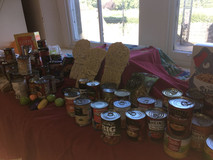 We collected donations for a local food bank in our Harvest Service.