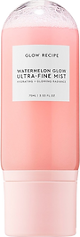 photo of Watermelon Glow Mist, the bottle is made out of clear plastic with a white label and a pink cap.