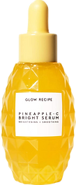 photo of pineapple serum from glow recipe, yellow dropper bottle with an oval shape and uneven surface reminicent of a pineapple.