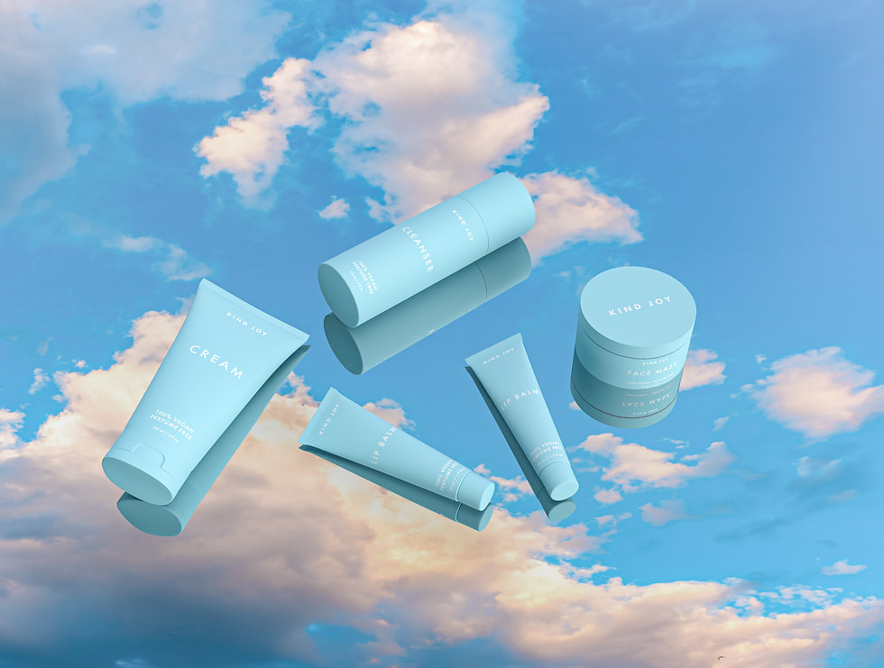 Realistic 3D rendering of various cosmetics products in blue opaque plastic packaging. The products are on a mirror that is reflecting a blue sky with white clouds.