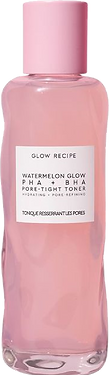 watermelon glow toner from glow recipe, has a tall glass bottle with a pink lid.