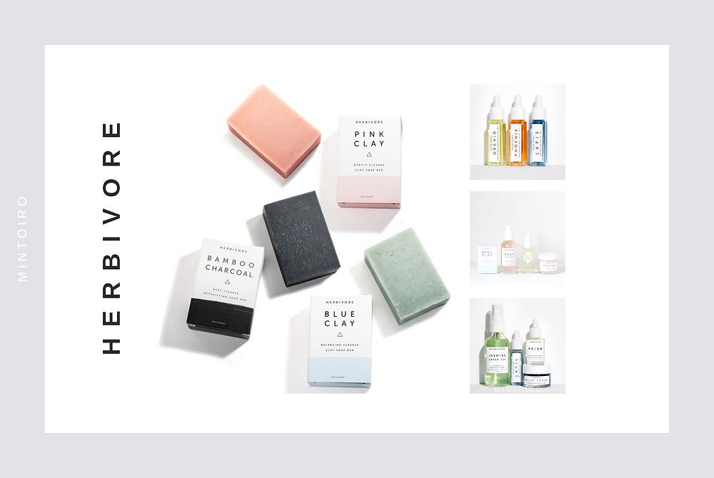 soap bars from cosmetics brand herbivore, Mintoiro, branding, webdesign, webbyrå