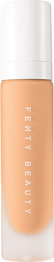 Foundation from the brand Fenty Beauty. The bottle is in matte glass with the name of the brand on it. The lid is white plastic.