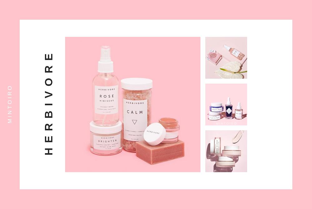pink cosmetics from herbivore, Mintoiro, branding, webdesign, webbyrå