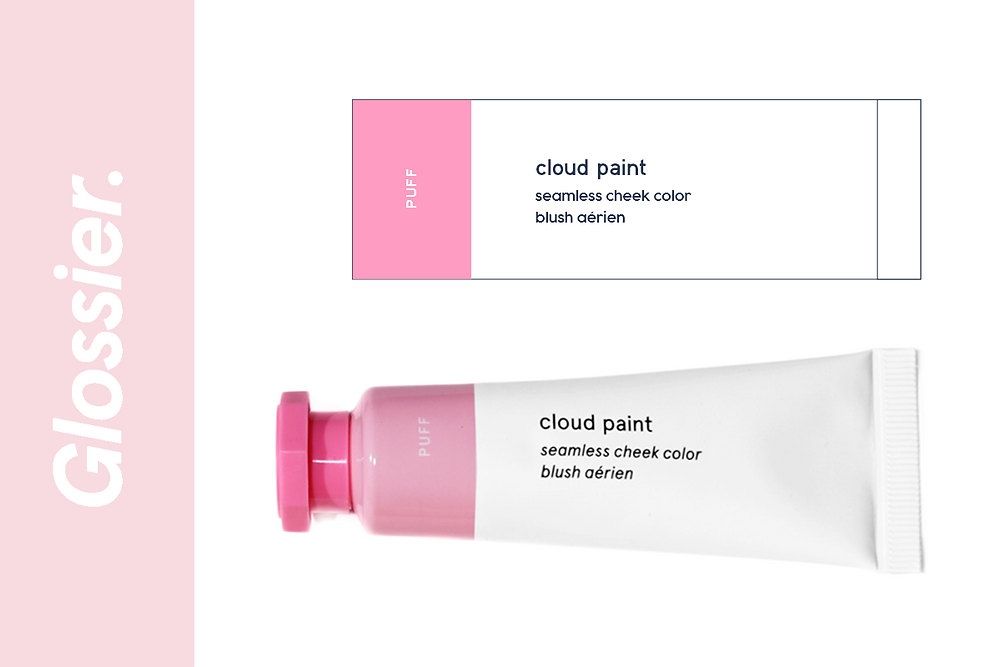Glossier cloud paint blusher in the color puff label