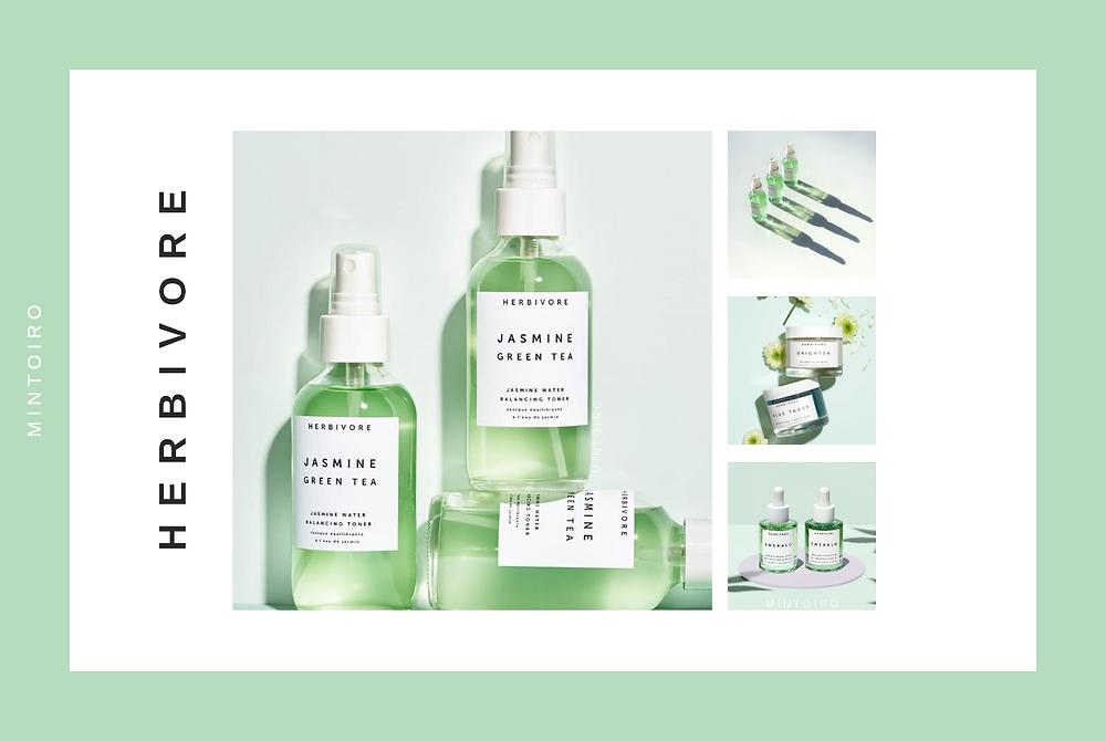 jasmine green tea cosmetics from herbivore, Mintoiro, branding, webdesign, webbyrå
